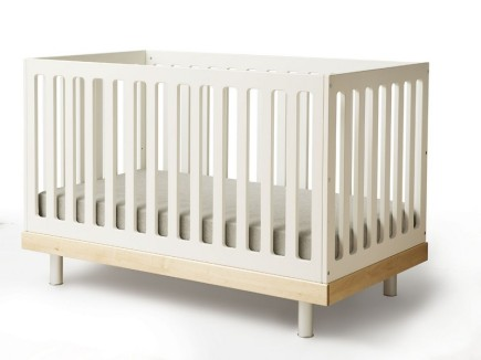 Low-profile-white-wood-baby-cribs-IKEA-with-mattress-